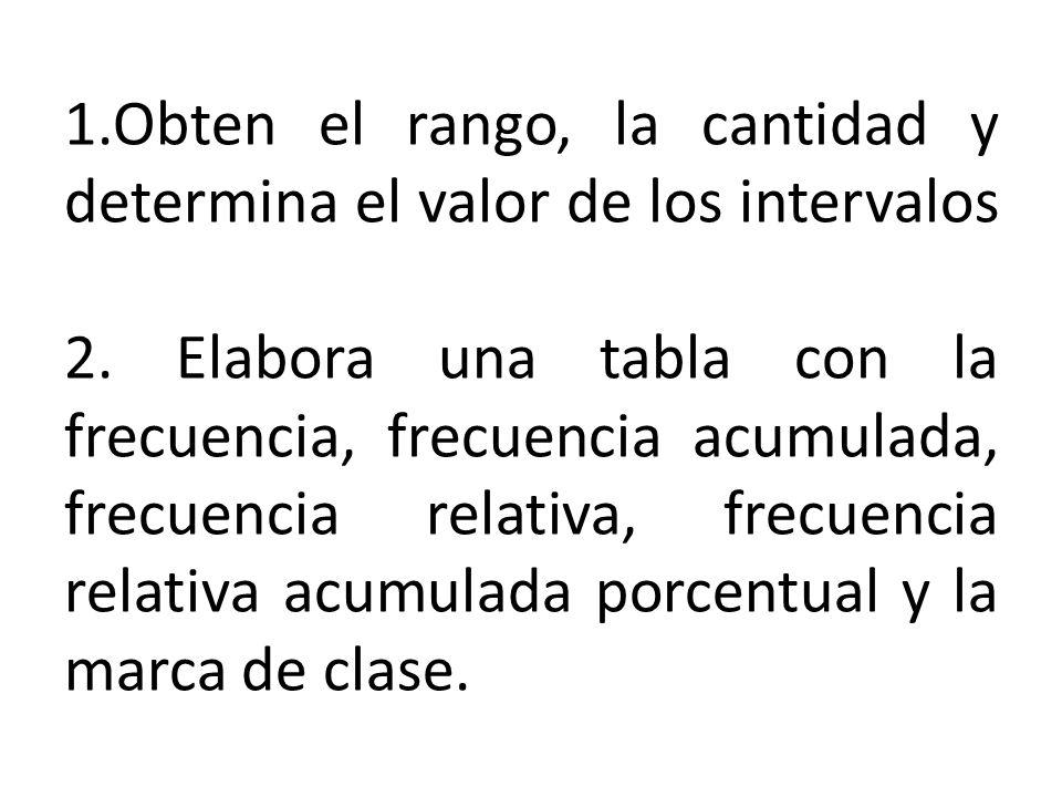 1.Obten el rango, la cantidad y determina el valor de los intervalos 2.