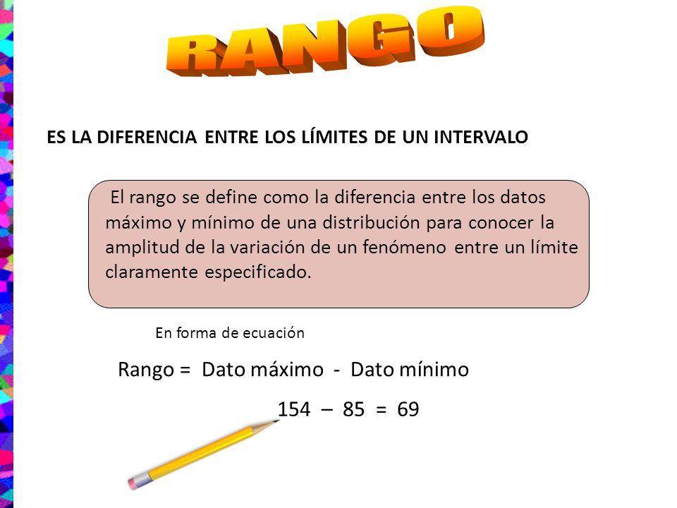 RANGO Rango = Dato máximo - Dato mínimo 154 – 85 = 69