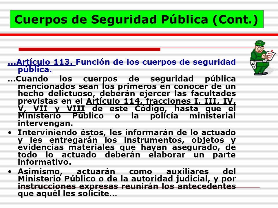 Cuerpos de Seguridad Pública (Cont.)