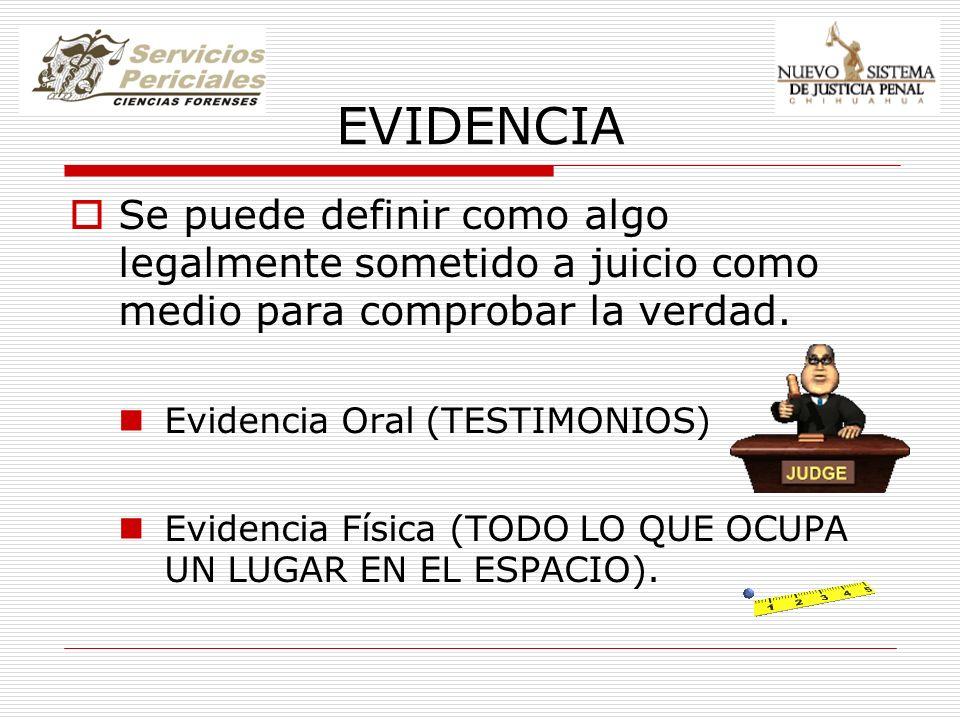 EVIDENCIA Se puede definir como algo legalmente sometido a juicio como medio para comprobar la verdad.