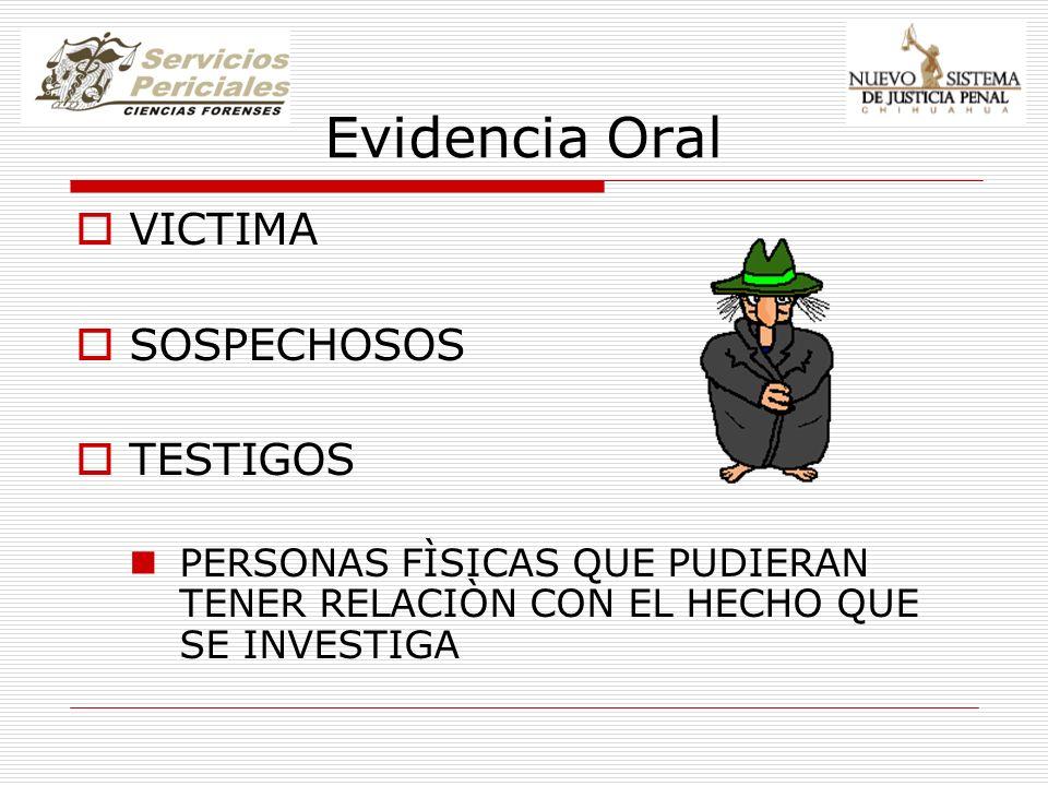 Evidencia Oral VICTIMA SOSPECHOSOS TESTIGOS