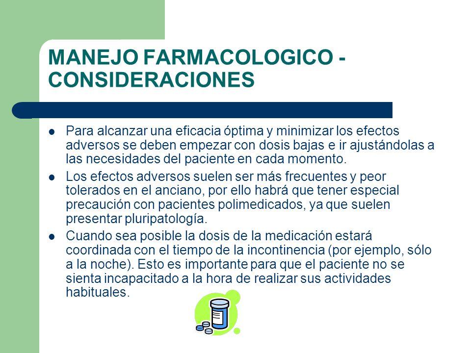 MANEJO FARMACOLOGICO - CONSIDERACIONES
