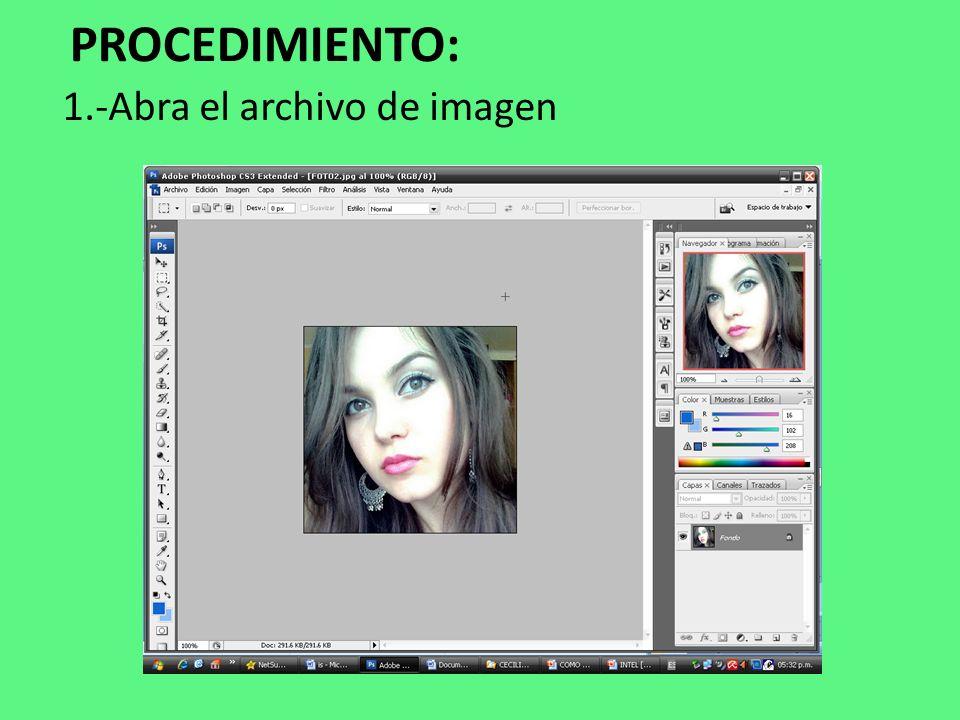 1.-Abra el archivo de imagen