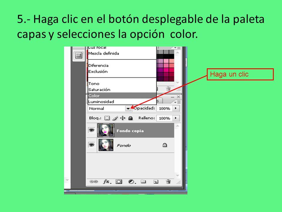 5.- Haga clic en el botón desplegable de la paleta capas y selecciones la opción color.