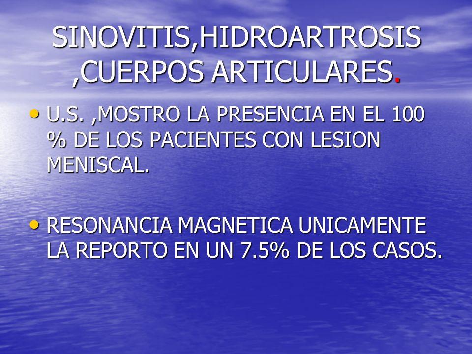 SINOVITIS,HIDROARTROSIS ,CUERPOS ARTICULARES.