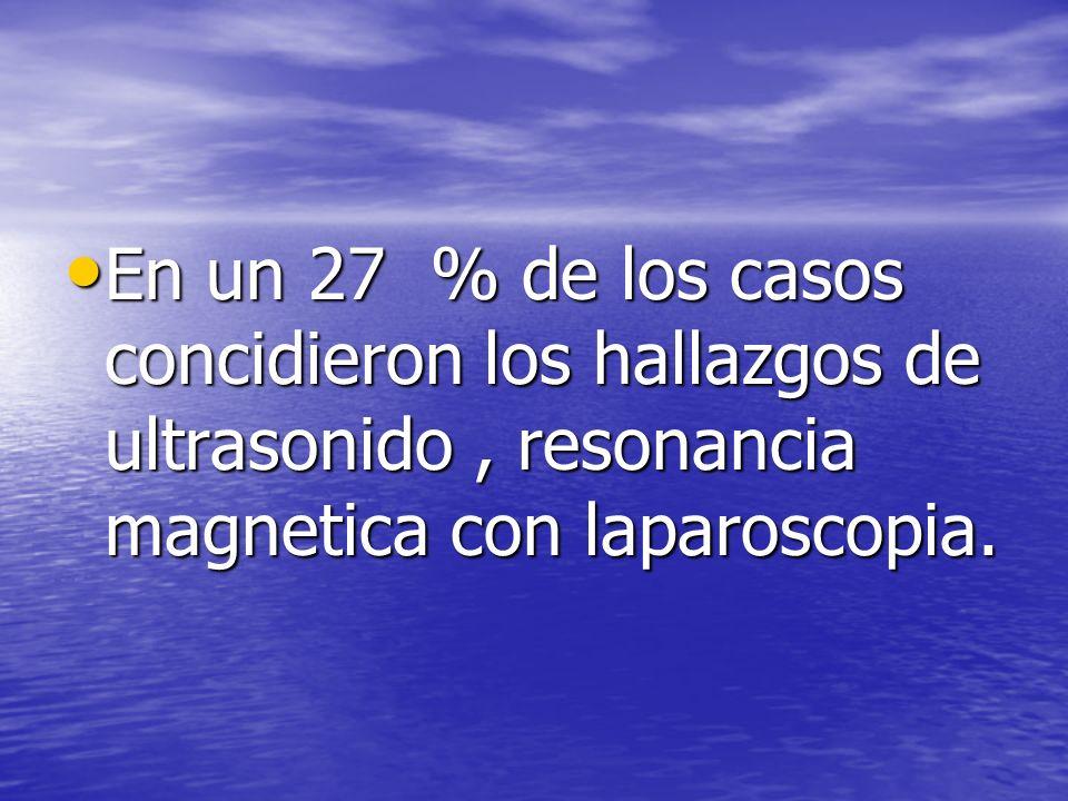 En un 27 % de los casos concidieron los hallazgos de ultrasonido , resonancia magnetica con laparoscopia.