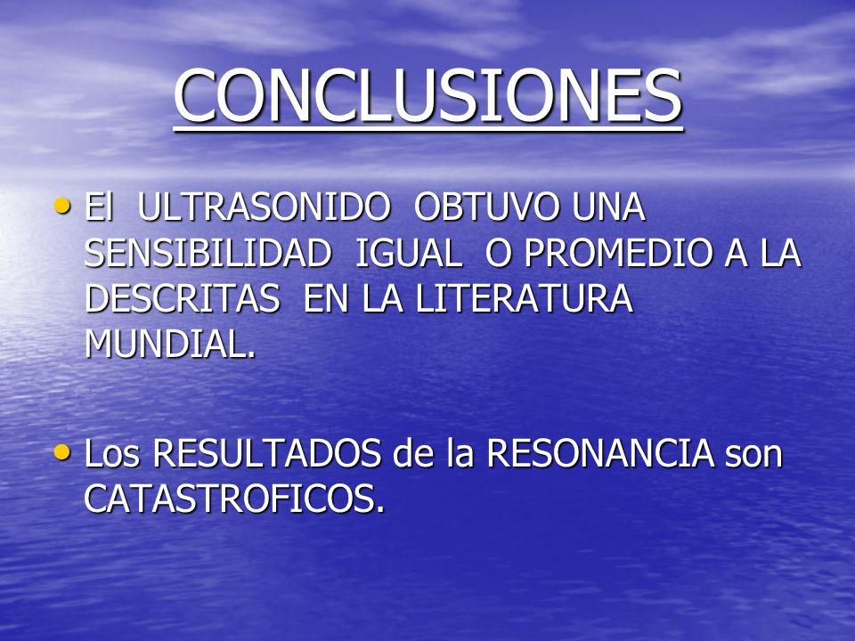 CONCLUSIONESEl ULTRASONIDO OBTUVO UNA SENSIBILIDAD IGUAL O PROMEDIO A LA DESCRITAS EN LA LITERATURA MUNDIAL.