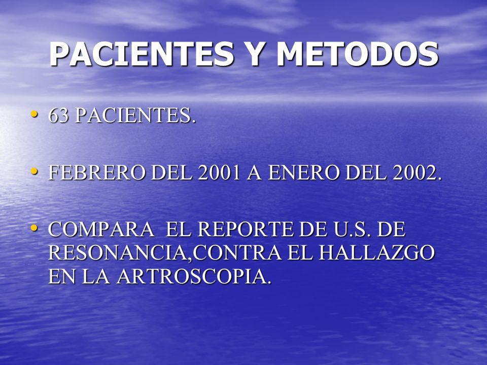 PACIENTES Y METODOS 63 PACIENTES. FEBRERO DEL 2001 A ENERO DEL 2002.