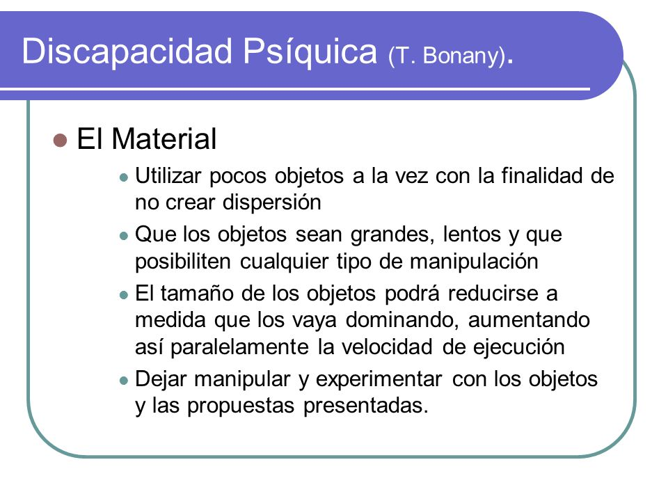 Discapacidad Psíquica (T. Bonany).