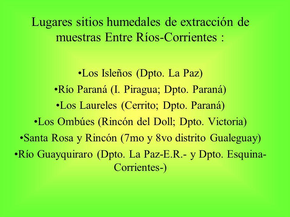 Lugares sitios humedales de extracción de muestras Entre Ríos-Corrientes :