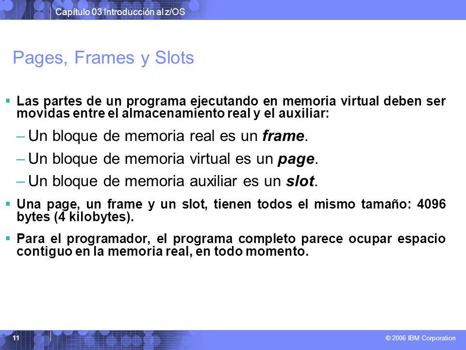 Pages, Frames y Slots Un bloque de memoria real es un frame.