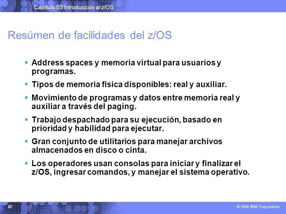 Resúmen de facilidades del z/OS