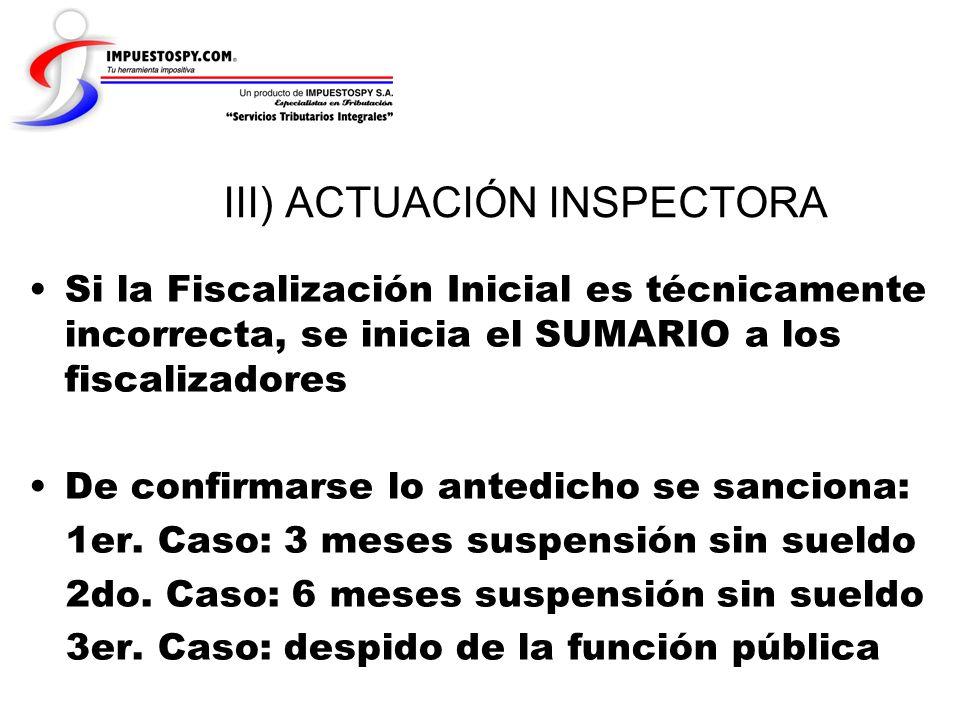 III) ACTUACIÓN INSPECTORA