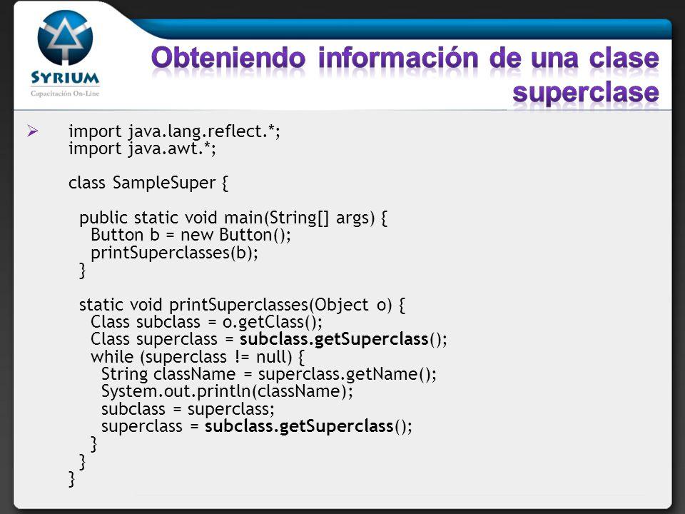 Obteniendo información de una clase superclase