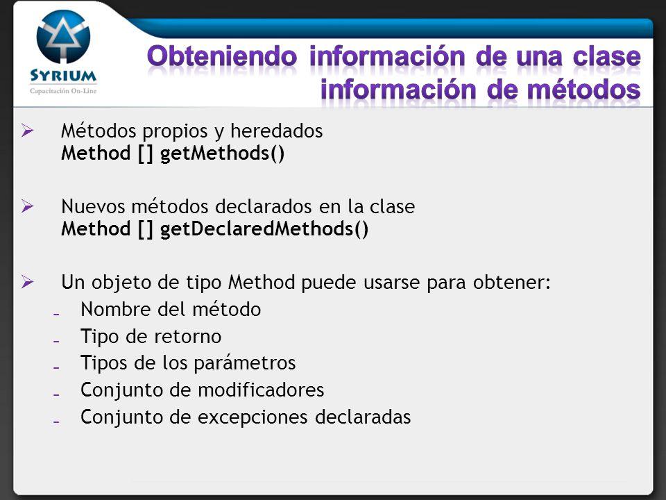 Obteniendo información de una clase información de métodos