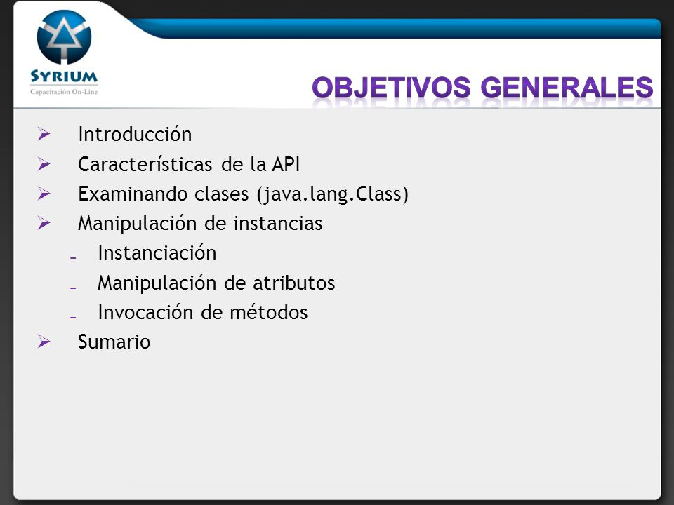 Objetivos generales Introducción Características de la API