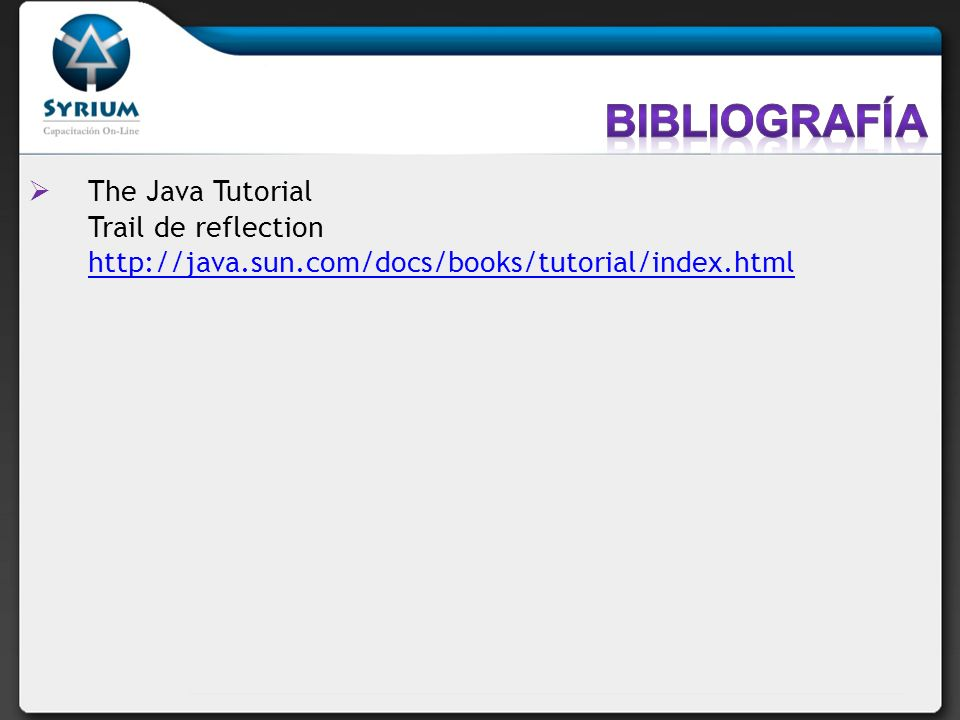 Bibliografía The Java Tutorial Trail de reflection http://java.sun.com/docs/books/tutorial/index.html.