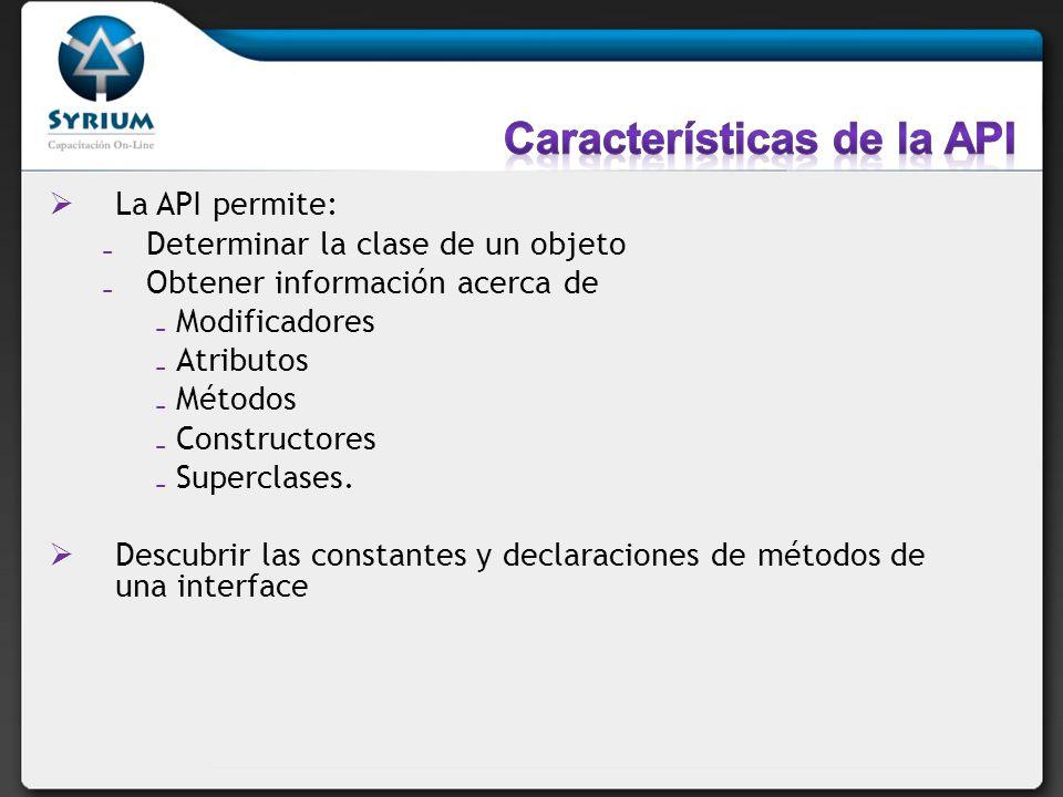 Características de la API
