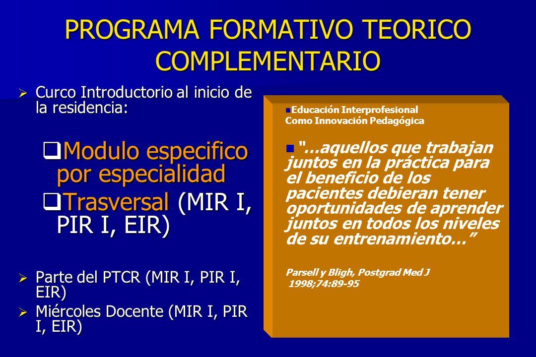 PROGRAMA FORMATIVO TEORICO COMPLEMENTARIO