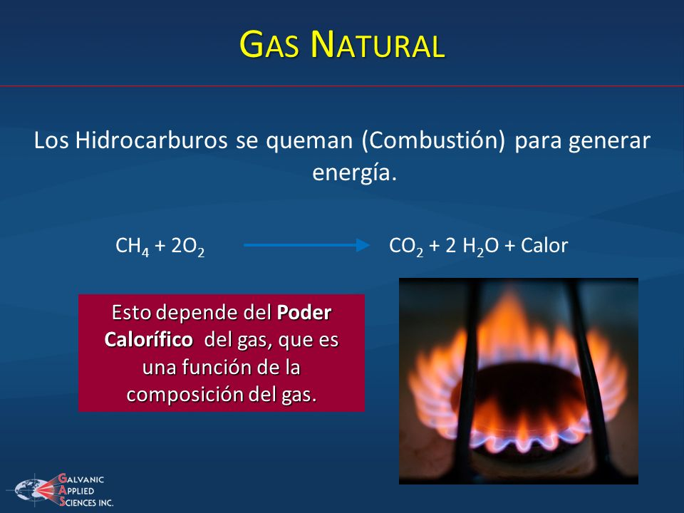 Los Hidrocarburos se queman (Combustión) para generar energía.