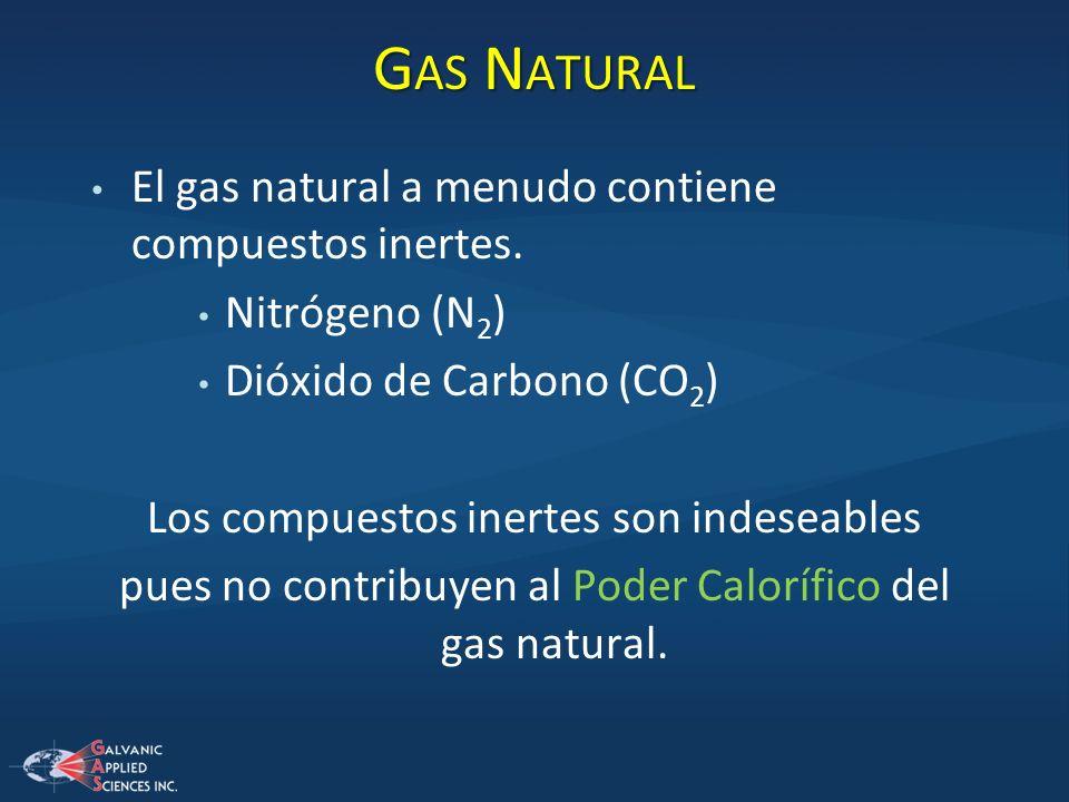 Gas Natural El gas natural a menudo contiene compuestos inertes.