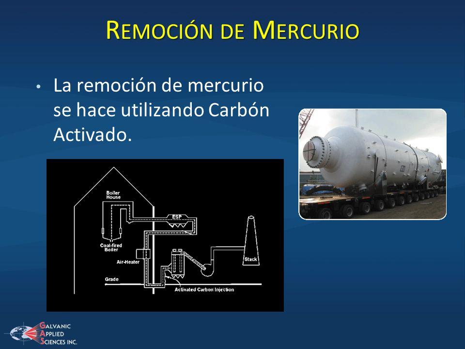 Remoción de Mercurio La remoción de mercurio se hace utilizando Carbón Activado.