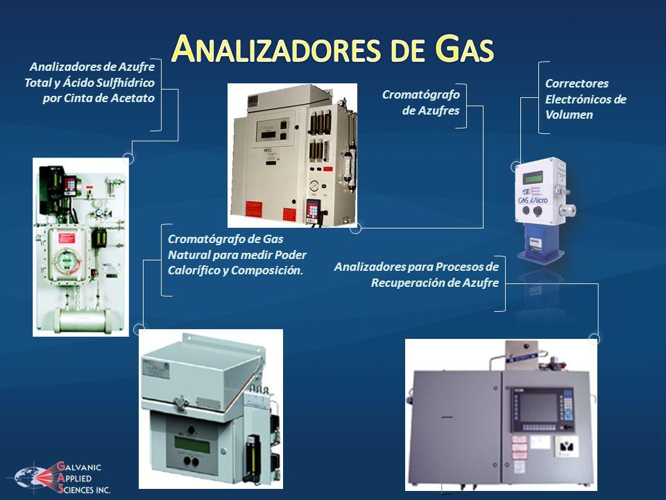 Analizadores de GasAnalizadores de Azufre Total y Ácido Sulfhídrico por Cinta de Acetato. Correctores Electrónicos de Volumen.