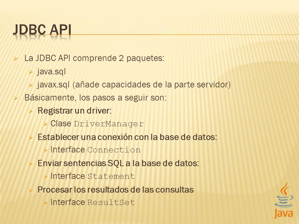 JDBC API La JDBC API comprende 2 paquetes: java.sql