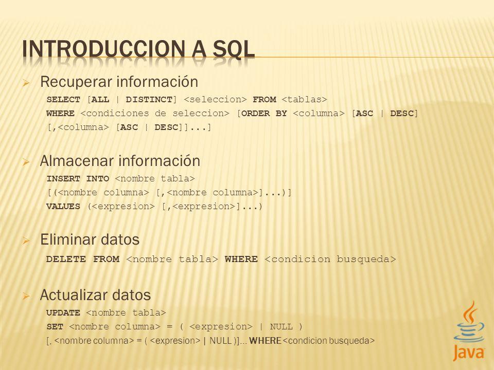 INTRODUCCION A SQL Recuperar información Almacenar información