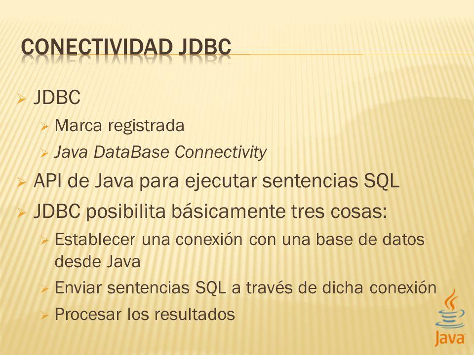 CONECTIVIDAD JDBC JDBC API de Java para ejecutar sentencias SQL