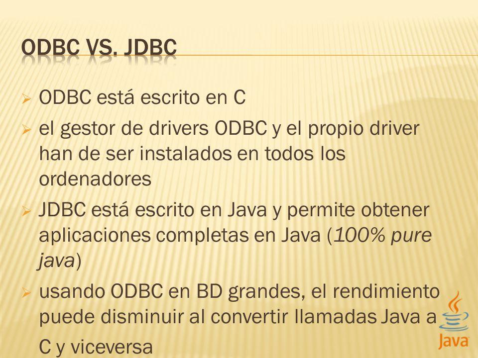 ODBC vs. jdbc ODBC está escrito en C