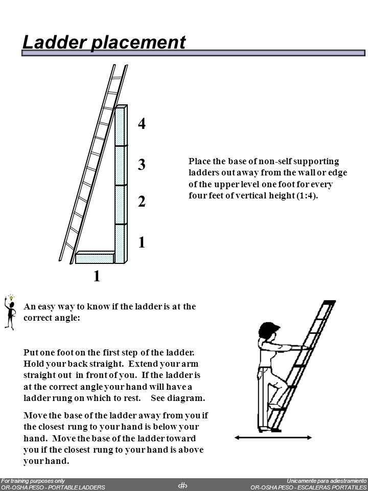 Ladder placement Tie-off point 3 feet 1/4 D