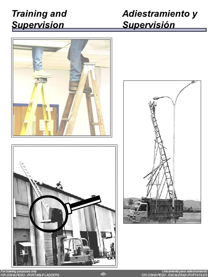 Ladder placementOver half of all ladder accidents are caused by falls when the ladder tips over as a result of poor ladder placement.