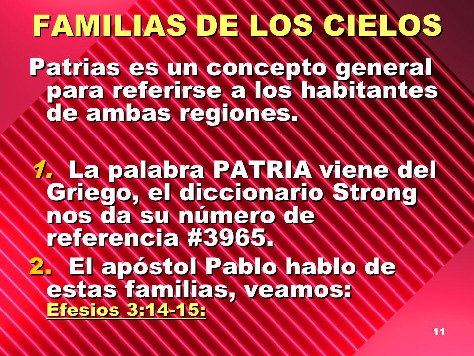 FAMILIAS DE LOS CIELOS Patrias es un concepto general para referirse a los habitantes de ambas regiones.
