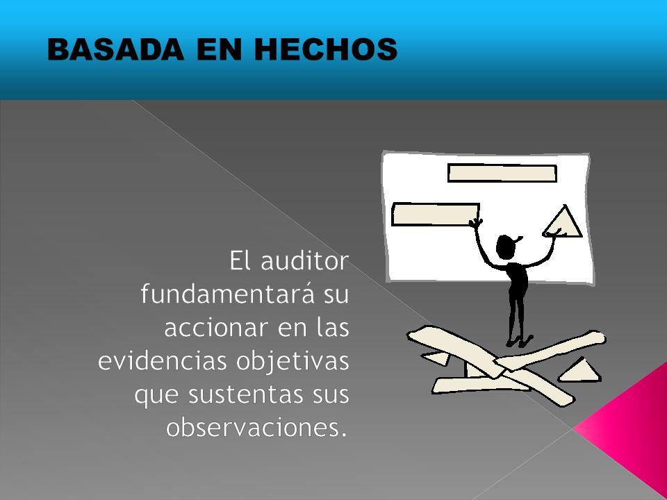 BASADA EN HECHOS El auditor fundamentará su accionar en las evidencias objetivas que sustentas sus observaciones.