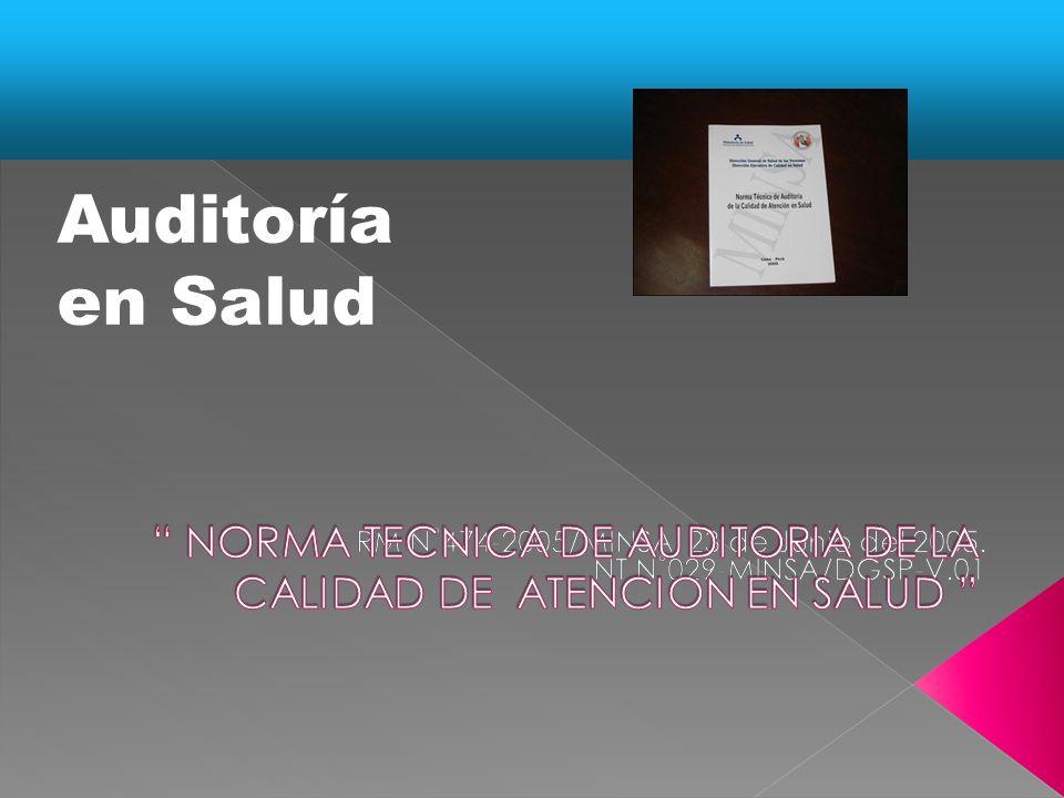 NORMA TECNICA DE AUDITORIA DE LA CALIDAD DE ATENCION EN SALUD