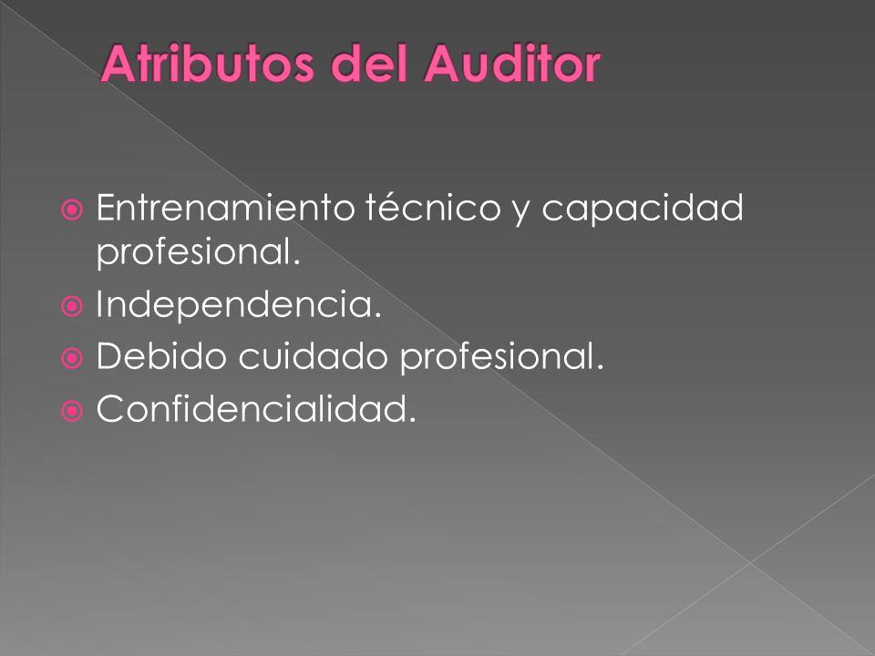 Atributos del Auditor Entrenamiento técnico y capacidad profesional.