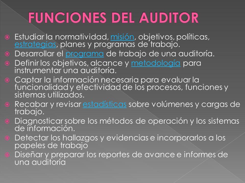 FUNCIONES DEL AUDITOR Estudiar la normatividad, misión, objetivos, políticas, estrategias, planes y programas de trabajo.