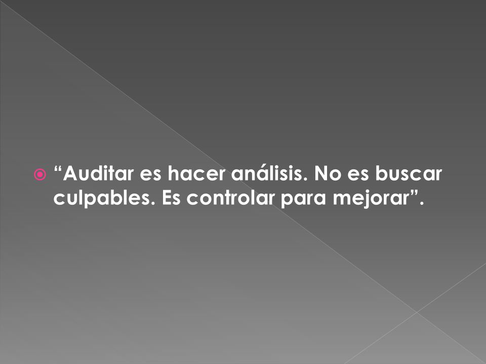 Auditar es hacer análisis. No es buscar culpables