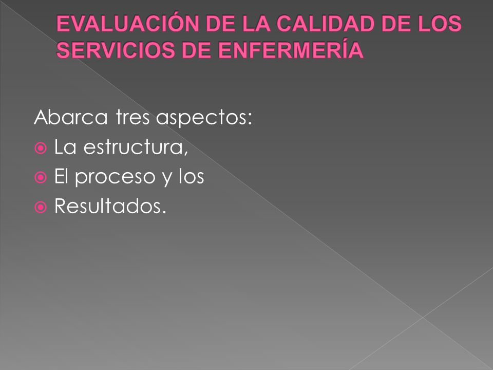 EVALUACIÓN DE LA CALIDAD DE LOS SERVICIOS DE ENFERMERÍA