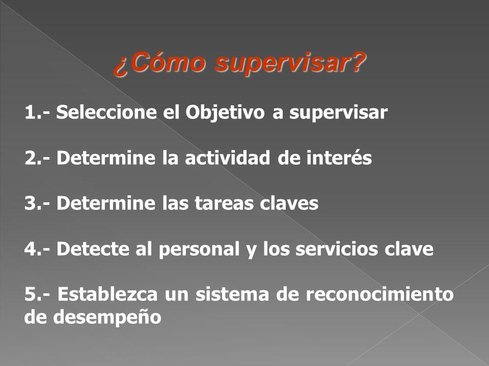 ¿Cómo supervisar 1.- Seleccione el Objetivo a supervisar