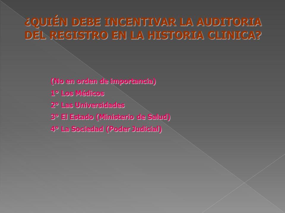 ¿QUIÉN DEBE INCENTIVAR LA AUDITORIA DEL REGISTRO EN LA HISTORIA CLINICA