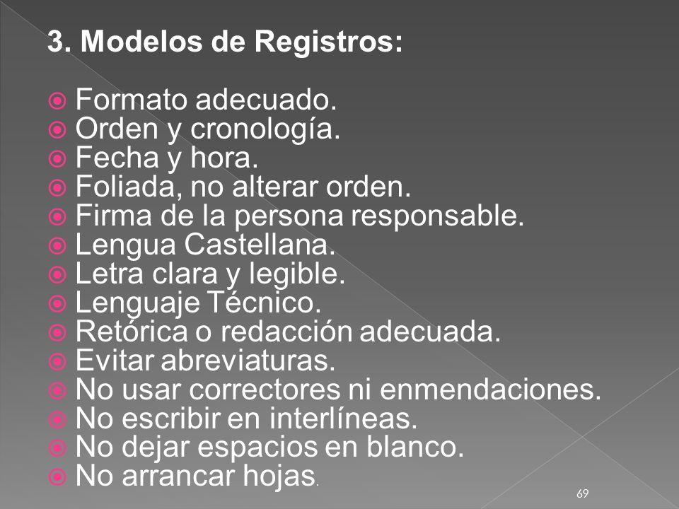 3. Modelos de Registros: Formato adecuado. Orden y cronología. Fecha y hora. Foliada, no alterar orden.