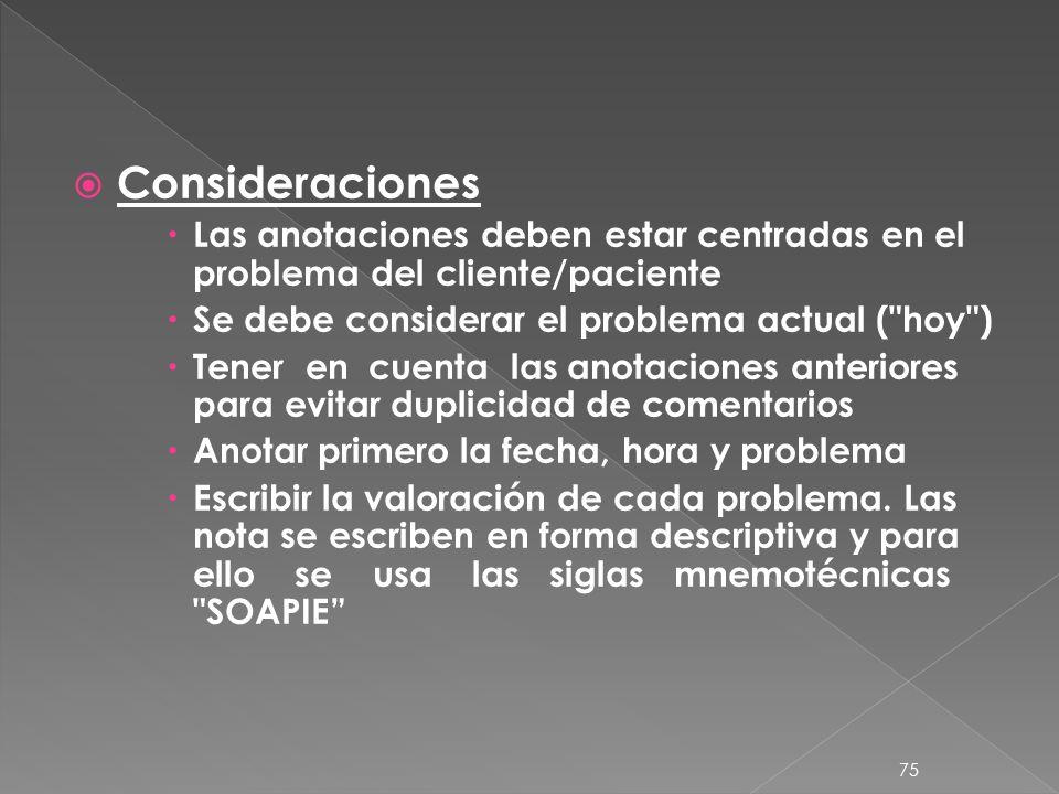 Consideraciones Las anotaciones deben estar centradas en el problema del cliente/paciente. Se debe considerar el problema actual ( hoy )