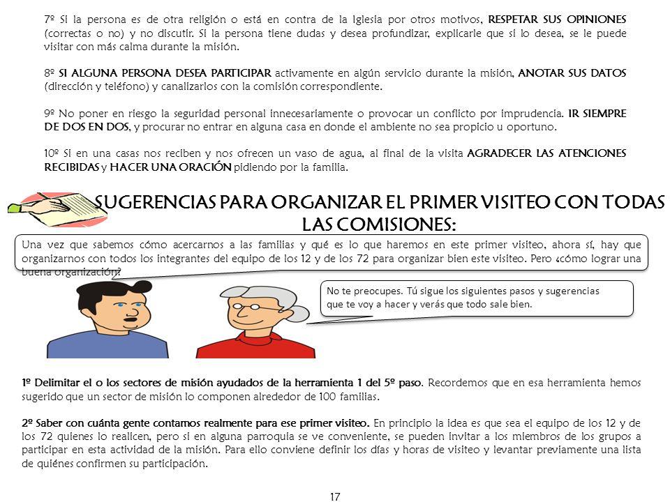 SUGERENCIAS PARA ORGANIZAR EL PRIMER VISITEO CON TODAS LAS COMISIONES: