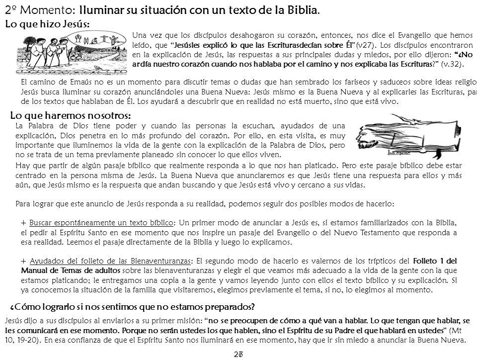 2º Momento: Iluminar su situación con un texto de la Biblia.