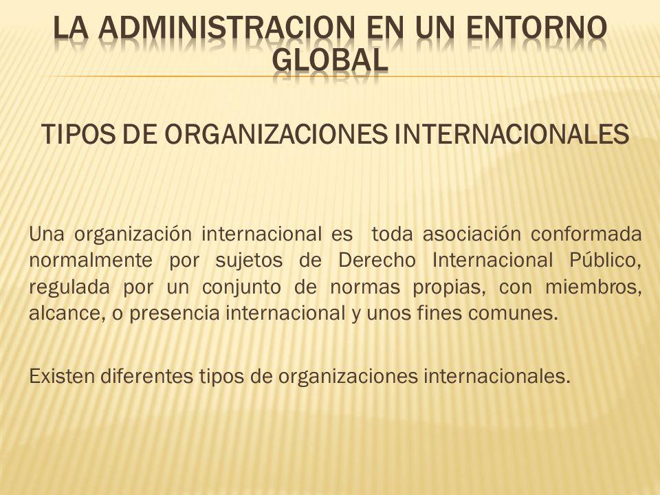 TIPOS DE ORGANIZACIONES INTERNACIONALES