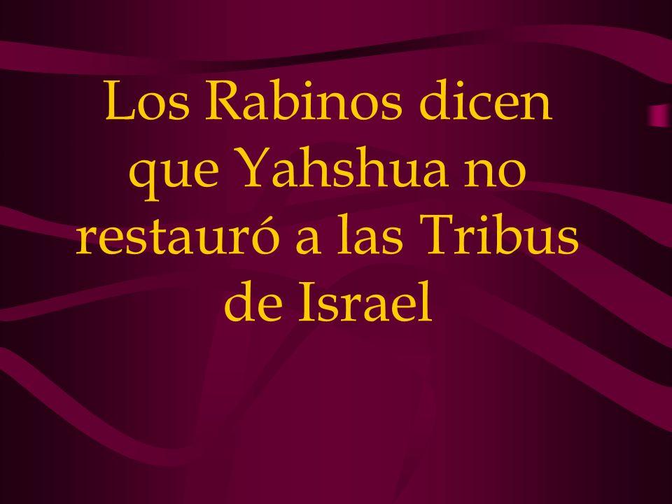 Los Rabinos dicen que Yahshua no restauró a las Tribus de Israel
