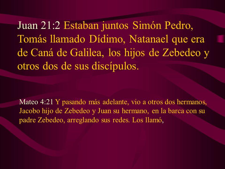 Juan 21:2 Estaban juntos Simón Pedro, Tomás llamado Dídimo, Natanael que era de Caná de Galilea, los hijos de Zebedeo y otros dos de sus discípulos.