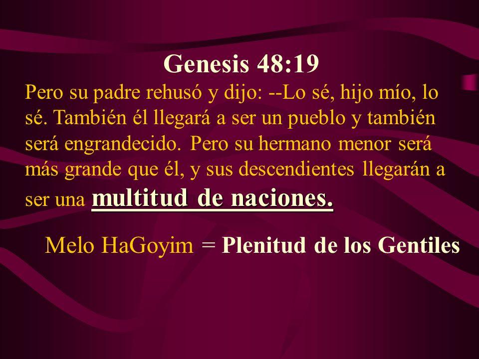 Genesis 48:19 Melo HaGoyim = Plenitud de los Gentiles